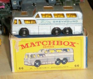 LESNEY MATCHBOX 1967 66 C GREYHOUND BUS WITH ORIGINAL BOX BLACK WHEELS