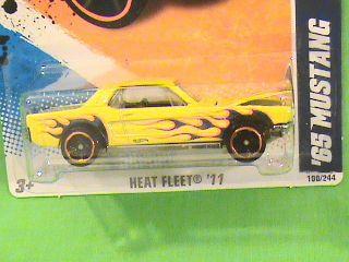 Hot Wheels 65 Mustang Yellow Flame Deco Design Heat Fleet 11 RARE 2