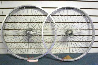 Beach Cruiser Bike 26x1 75 Wheels 68 Spokes Silver Front Rear w