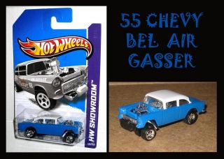 Hot Wheels 2013 Classic Super `55 Chevy Bel Air Gasser Real Riders