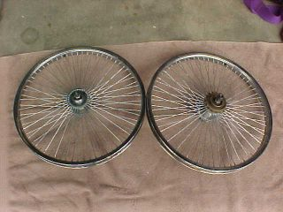 Pair 68 Spoke 20 Bike Rims Wheels Lowrider Trick Bicycle Freewheel