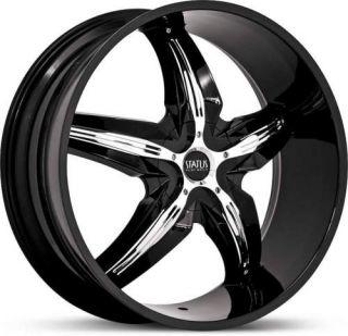 20 x8 5 Status Dystany S822 Black w Chrome Wheels Rims