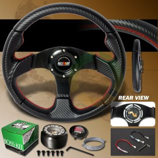 00 05 Mitsubishi Eclipse Carbon Jet Ralli Steering Wheel Red Stitches