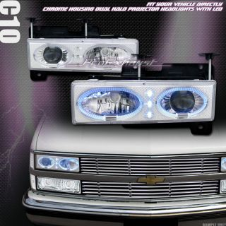 EURO LED HALO RIMS PROJECTOR HEAD LIGHTS LAMPS 88 98 CHEVY GMC C10 C K
