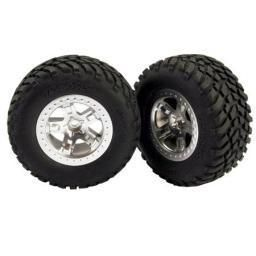Traxxas 5873 Rear Tires Satin Chrome Wheels 2 Slash