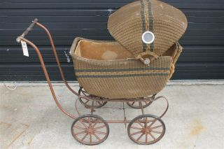 Victorian Era Wicker Baby Carriage Buggy 4 Wheels NEEDS TLC See Pic