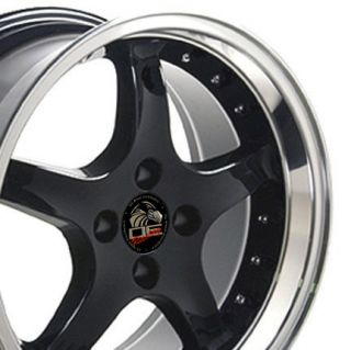 17 x 9 Black 4 Lug Staggered Cobra Wheels Rim Fits Mustang® 79   93