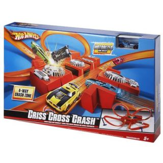 Hot Wheels Criss Cross Crash Motorized Track Set New