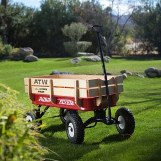 Flyer 32S All Terrain Steel Wood Kids Wagon w Side Rails Rubber Wheels