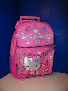 NWT $89 Hello Kitty Kids Children Rolling Backpack Wheels Wheeled Pink