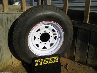 New ST235 80 16 Utility Trailer Tire on White Spoke Wheel