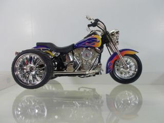 CUSTOM HARLEY DAVIDSON 100 HOT WHEELS SOFTAIL 1 10 SCALE TRIKE PURPLE