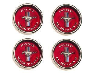 1965 1966 Mustang Styled Steel Wheels Center Caps Red