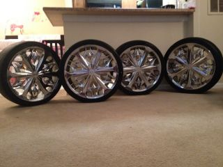 20 Lexani Fire Chrome Wheels and 245 35 R20 Tires Great Condition