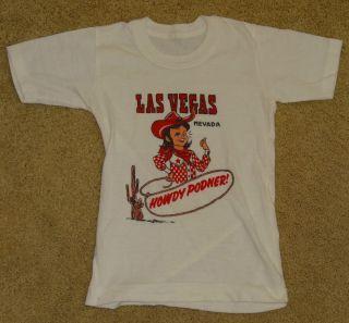 Vintage 1950s 1960s Las Vegas Cowgirl Cowboy Howdy Podner T Shirt