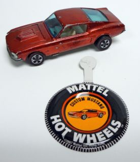 1968 Hot Wheels Redlines Custom Mustang Red HK Button