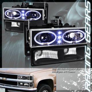 94 98 Chevy C K 1500 2500 3500 Black LED Dual Rim Projector Headlight