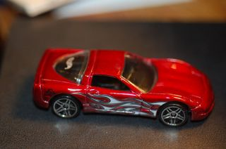 1997 Hot Wheels 97 Chevy Corvette Dark Red with Flames from Dual Cool