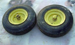 Narrow front wheels & tires for a 1964 1967 John Deere 110 garden