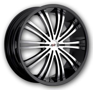 20 Avenue A601 Wheels Black Machine 20x8 5LUG 5x112 5x115 Et 40 Lot