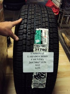 Uniroyal Laredo Cross Country 265 70R17 113s Brand New Tire