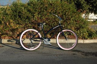 beach cruiser bike, FAT frame, black, pink rims, 26 wheels,BRAND NEW