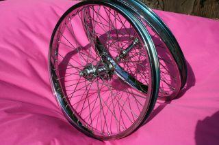 80s Chrome CMC 20 x 2 125 Old School BMX Wheels Rim Fit Haro Ammaco