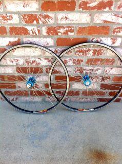 Turquoise Hubs Mavic X517 517 Rims Wheels Wheelset Super Nice