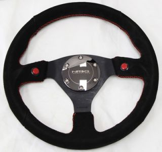 NRG 2 Button Series 320mm Racing Steering Wheel Black Sport Suede w