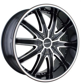 22 inch Veloche Tork Black Wheels Rims 5x115 300C Charger Magnum