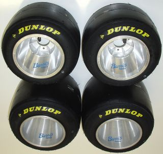 New Set of Dunlop Racing Go Kart Tires Burris Aluminum Wheels