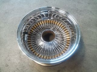 Classic Wire Wheel Rim Chrome Gold 100 Spokes 14X7