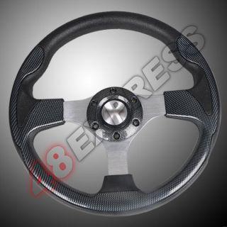 New 12 315mm PU Sport Racing Steering Wheel Horn Button Carbon Fiber