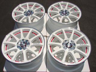 4x114 3 White Effect Rims Black Scion XA XB Red Protege Spectra Wheels