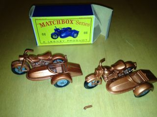 Lesney Matchbox 66 Harley Davidson Motorcycles and Sidecars