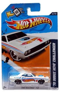 2012 Hot Wheels HW Racing 174 1970 Dodge Hemi Challenger White