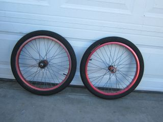 SCHOOL ARAYA WHEELSET WITH SHIMANO HUBS RED ANODIZED BMX 20X1 75 RIMS