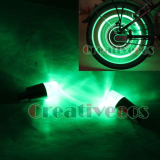 4pcs Neon LED Bike Car Tyre Tire Valve Caps Light Green
