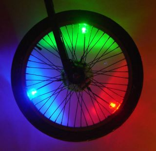 Bicycle Wheel Safety Lights Spoke Rim Bike Mountain Cruiser BMX Tire