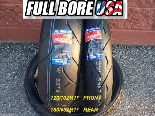 Two Tire Set 120 70ZR17 180 55ZR17 Full Bore USA Sport Bike Motorcycle