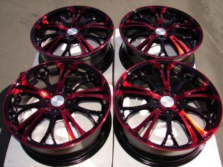 4x114 3 Red Rims Miata Versa Clubman Lancer Cooper Accent 4 Lug Wheels
