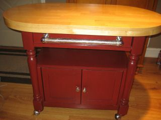 Barn red kitchen island cart with wheels pick up only red kitchen cart