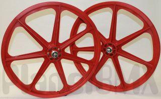 Skyway BMX 24 TUFF WHEELS cruiser Mags in RED sealed bearing hubs MADE