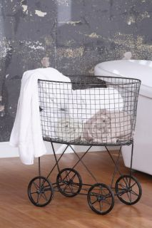 Rolling Laundry Bar Cart w Iron Wheels Factory Tub Retro Decor