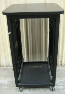Pro Audio Video Black Equipment Rack with Wheels 47x27x27 21 RU