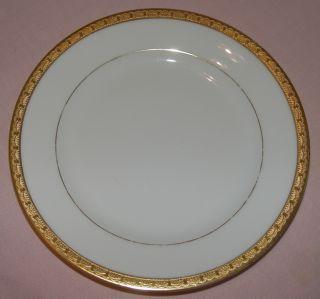 CZECHOSLOVAKIA CHINA  2 SALAD PLATES 7.5 DIAM GOLD ENCRUSTED BAND RIM