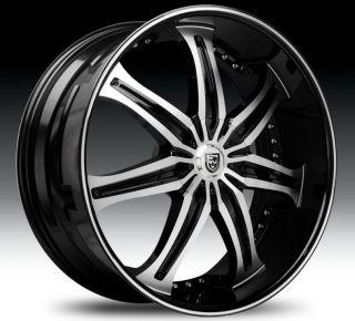 Wheel Set 20x8 5 Black Machined Black Lip Lexani Rims rwd 5LUG