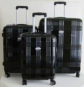 Pc Luggage Set Hard Rolling 4 Wheels Spinner Upright Travel Black