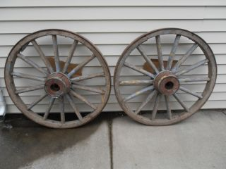 Pair Antique Wooden Wagon Wheels Local Pickup Only Western NY