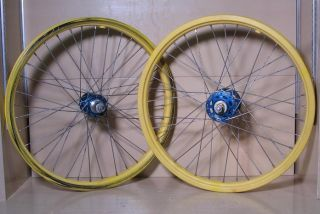 Old School BMX Wheels 20 ACS Z Rims Yellow w Blue Sunshine Hubs Used